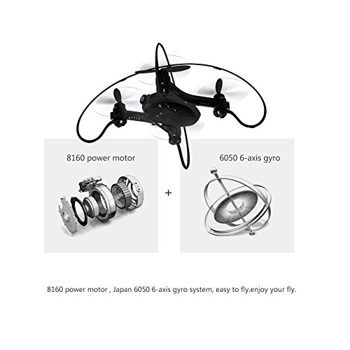 Coolmade FY603 Quadcopter with Camera Wifi FPV Drone 2.4G 4CH 6Axis RTF Helicopter UFO Mini Drone with GYRO, Flying RC Quad Copter with Altitude Hold and Hand Launching – Black (2 Battery)