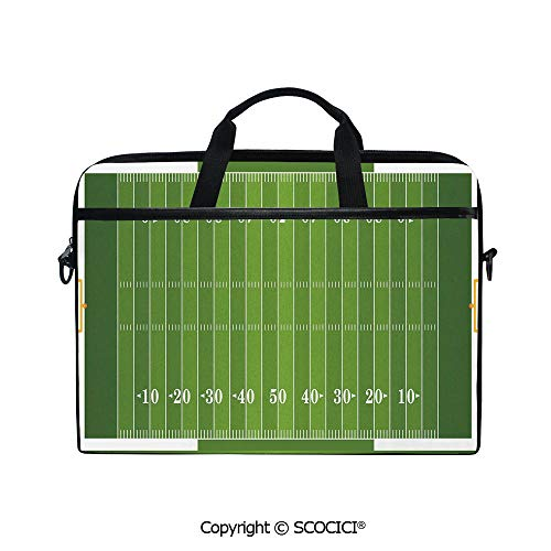 Laptop Sleeve Notebook Bag Case Messenger Shoulder Laptop Bag Sports Field in Green Gridiron Yard Competitive Games College Teamwork Superbowl with Handle and Extra Side Pockets ()