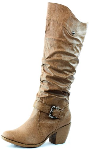 Wild Diva Women's Lucky-7 Brown Color Buckles Knee High Cowboy Boots Shoes, Brown, 6