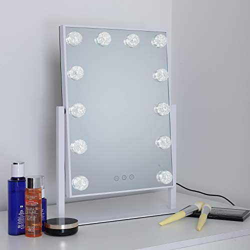 WAYKING Makeup Mirror with Lights, Lighted Vanity Mirror with 12 LED Bulbs, Touch Dimmer and 3 Color Lighting, 360 Degree Rotary Design, White 13.9X18.5 inch