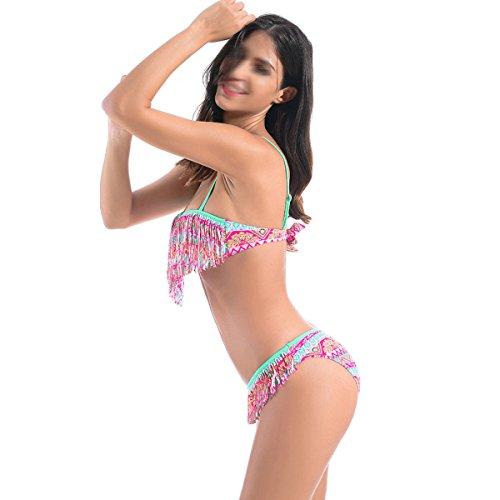 La Sra Bikini Atractivo Traje De Baño Multicolor Delgado Bragas Green