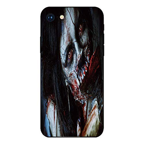 Phone Case Compatible with iphone7 iphone8 mobile phone covers phone shell Brandnew Tempered Glass Backplane,Zombie Decor,Scary Dead Woman with Bloody Axe Evil Fantasy Gothic Mystery Halloween Picture ()