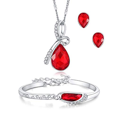ISAACSONG.DESIGN Silver Tone Healing Crystal Rhinestone Drop Pendant Necklace, Bracelet, Earring Set for Women (Red)