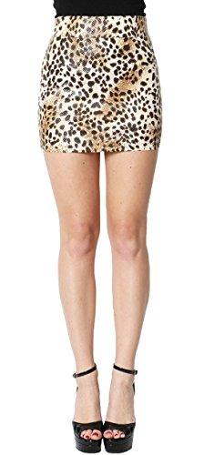 Simply Savvy Co USA Animal Leopard Print Skirt (Large, Brown) -