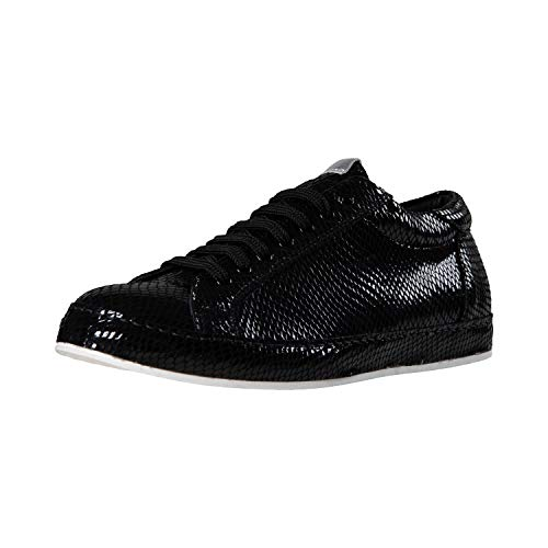 (Bendyk Shine Star, Exclusive Low top Sneaker for Ladies, Made in Italy, Calfskin with Snake Leather Structure, Black, 40)