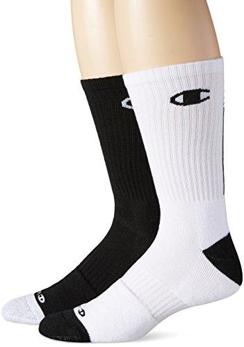 Champion Men's 2 Pack Basketball Crew Socks, Black/White,...