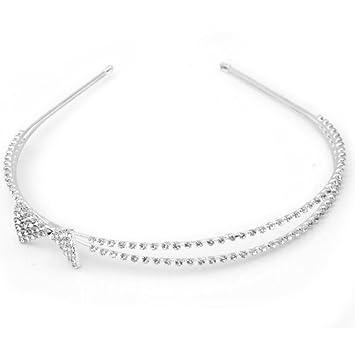 Amazon.com  SODIAL(R) Silver Plated Crystal Rhinestone Bow Wedding ... 59aa081eec7