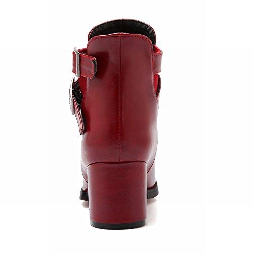 Latasa Damesmode Gesp Bandjes Ruig Hoge Hak Punt-teen Enkel-hoge Jodhpur Laarzen Claret-rood