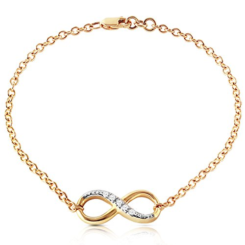 (Galaxy Gold 14K Solid Gold Infiniti Bracelet with Natural Diamonds)