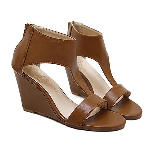 RUGAI-UE Zapatos de tacón bajo, sandalias de un solo zapato, pendientes de moda europeas y americanas y zapatos de tacón alto estilo Roma. brown