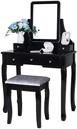 BEWISHOME Vanity Set With Mirror U0026 Cushioned Stool Dressing Table Vanity  Makeup Table Desk 5 Drawers