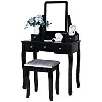 BEWISHOME Vanity Set with Mirror & Cushioned Stool Dressing Table Vanity Makeup Table 5 Drawers 2 Dividers Movable Organizers Black FST01B