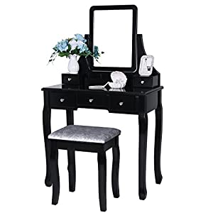 BEWISHOME Vanity Set with Mirror & Cushioned Stool Dressing Table Vanity Makeup Table 5 Drawers 2 Dividers Movable Organizers White/Black/Brown FST01/3