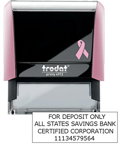 4 Line Breast Cancer Awareness for Deposit Only Stamp (Bank, Account Number, Company Name)) Breast Cancer Awareness Line