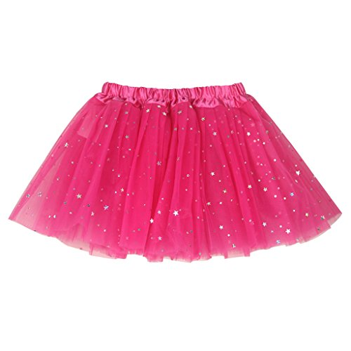 Buenos Ninos Girl's 3 Layers Sequin Ballet Dance Skirt with Sparkling Stars Dress-up Tutu Hot Pink
