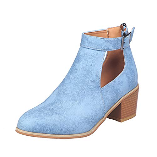 Women Shoes Ankle Short Boots Square Heels Roman Thick Heels Social Heels Blue,38