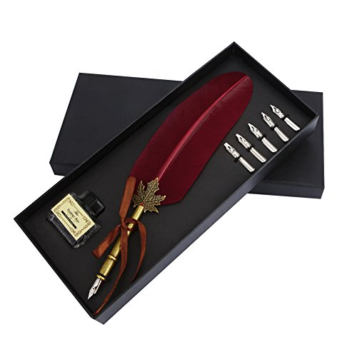 - Vintage Feather Quill Dip Pen Ink Set Writing Quill Ink Pen Metal Nibbs Calligraphy Feather Pen Gift Set for Wedding Christmas (Wine Red)
