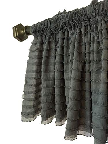 A Vision to Remember Gray Sheer Ruffle Valance Extra Wide Window (Ruffled Swag Valance)