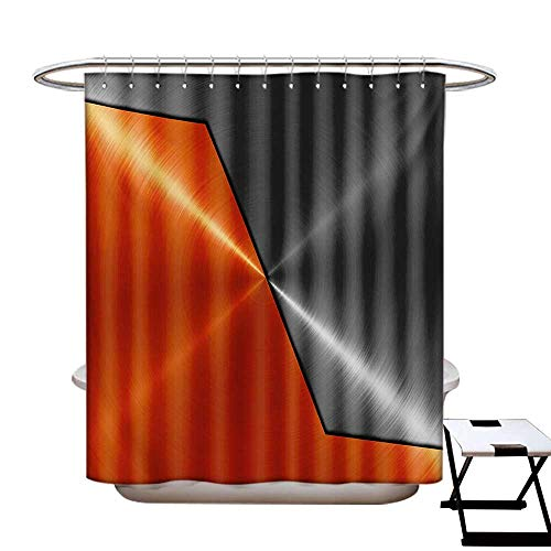 Offset Printing Machinery - BlountDecor Orange and Grey Shower Curtains Digital Printing 3D Style Machinery Structure Image Detailed Vivid Modern Contrast Colors Satin Fabric Bathroom Washable W72 x L72 Orange Gray