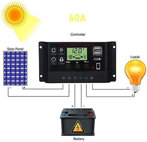 Solarladeregler,Hunpta@Solar Panel Regler Laderegler USB 60A 12V-24V mit Dual-USB-Ladegerät (Schwarz)