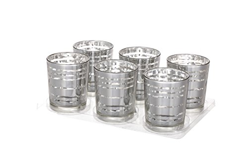 V-More Laser Cut Mercury Glass Votive Candle Holder Tealight Holder 2.55-inch Tall Set of 6 For Home Decor Wedding Party Celebration (Silver Wave) (Candle Silver Plated)