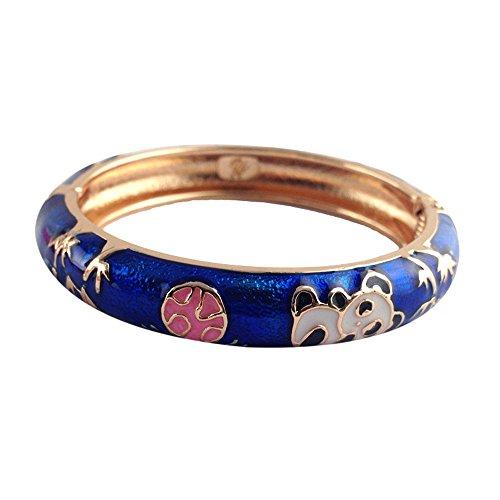(UJOY Childrens Bracelet Beautiful Cloisonne Panda Enameled Gold Hinge Open Bangles Bracelets Jewelry for Girls Gifts 55D01 Navy Blue)