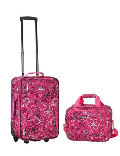 Rockland Luggage 2 Piece Set, Pink Bandana, Medium