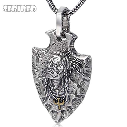 Dixinla Real 925 Sterling Silver Indian Chief Pendant Jewelry Men Women Ethnic Feather Eagle Necklace Pendant ()