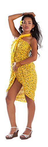 1 World Sarongs Pareo para Mujer con Estampado Tropical de Bambú Amarillo