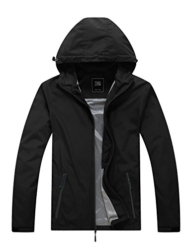 ght Summer Windbreaker Packable Windproof Camping Jacket(Black,Small) ()