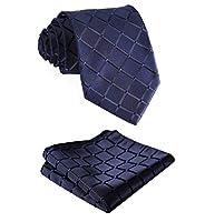 SetSense Men's Plaid Jacquard Woven Tie Necktie Set