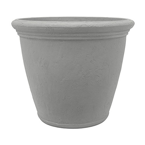 Garden by Artech 24in. Resin Barcelona Planter in Grey Stone (Flower Pots Fiberglass)