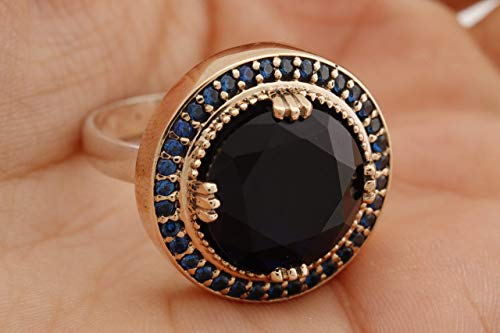Ottoman Special Design Turkish Handmade Jewelry Round Cut Sapphire 925 Sterling Silver Ring Size Option