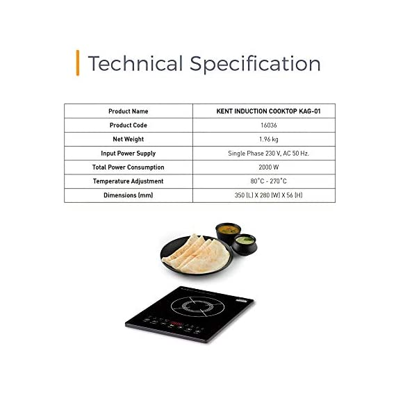 KENT - 16036 Induction Cooktop KAG-01 2000-Watt (Black) 7