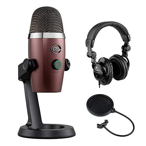 Blue Yeti Nano Multi-Pattern USB Condenser Microphone (Red Onyx) with Polsen HPC-A3 Studio Monitor Headphones & Pop Filter Bundle