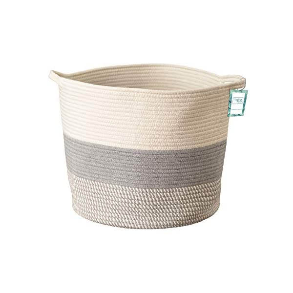 Large Cotton Rope Storage Basket Tall Grey Décor Basket for Blankets, Baby Nursery Hamper Bin, Toy Tote – A Cute Round Laundry, Diaper and Towel Basket with Handles 15″ x 17″