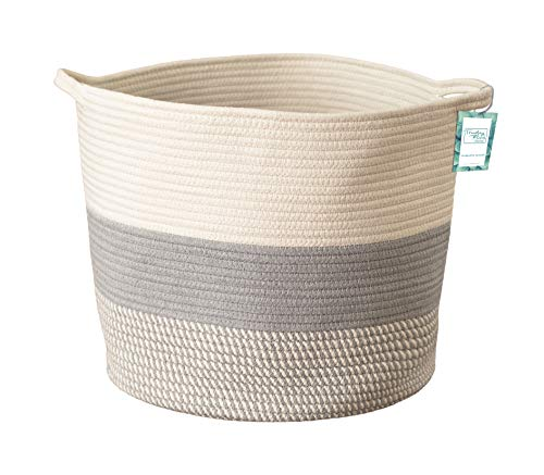 Extra Large Cotton Rope Woven Storage Basket XL Tall Grey Décor Basket for Blanket, Baby Nursery Hamper Bin, Toy Tote - A Cute Round Laundry, Diaper and Towel Baskets with Handles 15 x 17