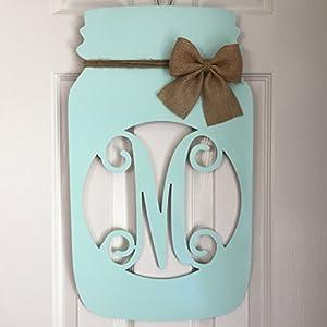 Monogram Mason Jar Door Hanger - Mason Jar Wreath - Rustic Door Hanger - Country Wreath - Southern Burlap Door Hanger - Burlap Monogram 11