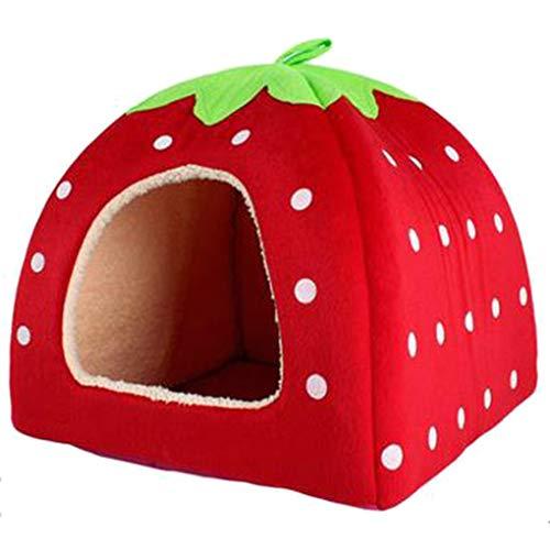 Krastal Pet Dog House Large Dog Bed Strawberry Leopard Print Cat Tent Rabbit Warm Cushion Basket