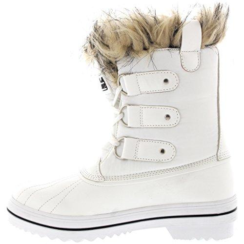 Polar Products Womens schnüren sich Gummisohle Short Winter Schnee Regen Schuh Stiefel Weißes Nylon