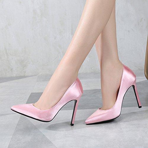 Silkki Suljettu Korkokengät Pumput Klassinen Kengät Vaaleanpunainen Pukeutua Teräväkärkiset Naisten Samsay P4Ywtqn