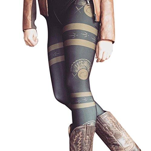 GBSELL Women Bull Arrows Printed Stretchy Pants Leggings Sport Casual (Style 2 Black, M)