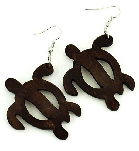 Exotic & Trendy Jewelry, Books and More Hawaiian Turtle Earrings -Turtle Carved in Coconut Shell Koa Wood Earrings - Wood Turtle Earrings (Dark Brown) ()