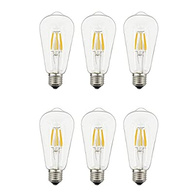 Lighting Poetry Vintage Edison LED Light Bulbs,6W Soft Warm Dimmable Light 2700K,E27 Medium Bass Lamp,To Replace 60W Incandescent Bulbs-6 Pack