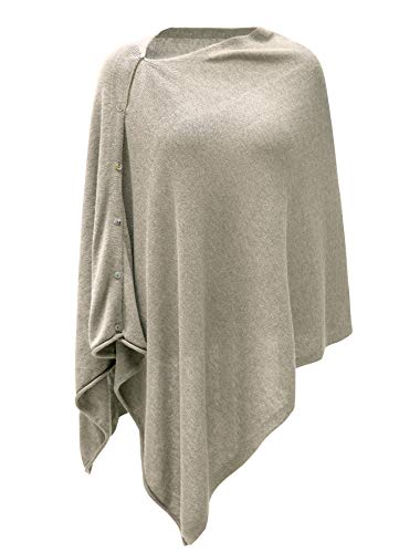Womens Cashmere Versatile Button Poncho Sweater Lightweight Cape Wraps for Spring Summer Autumn Blend of Oatmeal & Cloud Grey 2-10 (Cashmere Poncho Womens)
