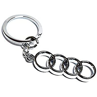 AutoAddonsUSA Fashion Silver Metal Chrome Finish Car Logo Emblem Keychain for Key Rings, Lanyards, Backpacks (for Audi): Automotive