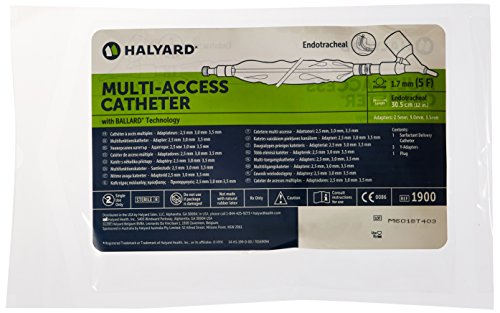 Halyard Health 1900 Closed Suction Systems for Neonatal/Pediatric, 5 Fr Multi-Access Catheter, 3.0 mm, 3.5 mm, 4.0 mm Adapters, Grey (Pack of 5) (Closed System Suction)