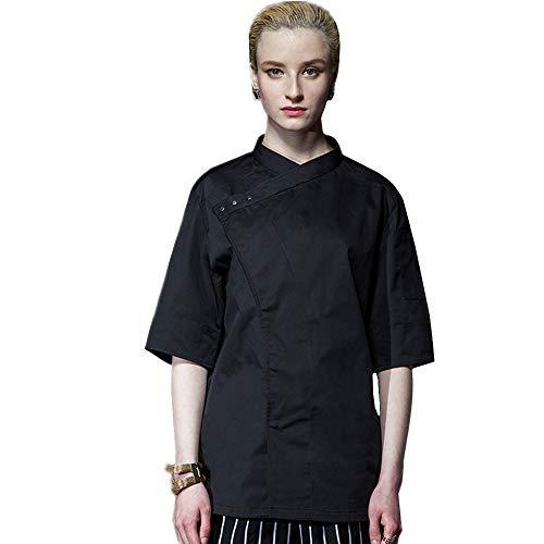 Unisex 1/2 Sleeve Double Shoulder Mesh Hidden Snaps Chef Coat Black
