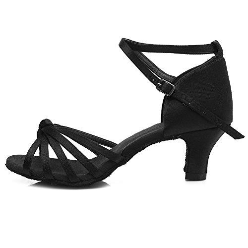 Roymall Women's Black,Satin Latin Dance Shoes,Model 217-5,9 B(M) US