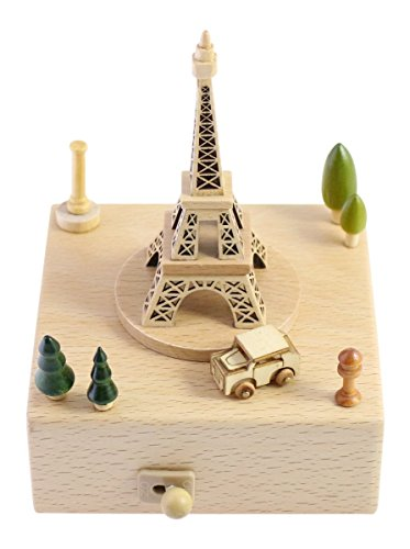 Delightful Quality Wooden Musical Box Featuring Iconic Eiffel Tower with Small Moving Magnetic Car   Plays ''Encounter'' Song by JustNile (Image #2)